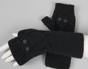 Beautiful hand knitted mittens for women. Fingerless ''Owl'' gloves for ladies, available in many colours.