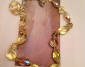 Vintage Large Yellow Crystal Long Necklace