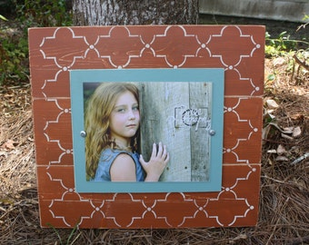 Distressed Picture Frame, Wood 8x10 Frame, Coral Picture Frame,  8x10 Picture Frame, Wood Plank Frame, Lattice Frame