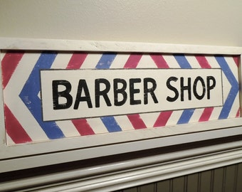 BARBER SHOP red, white & blue antique reproduction sign, hand painted wooden, man cave trade sign