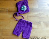 Newborn Bonnet with Flower and Shorts Bold Bright Spring Summer Photo Prop Set