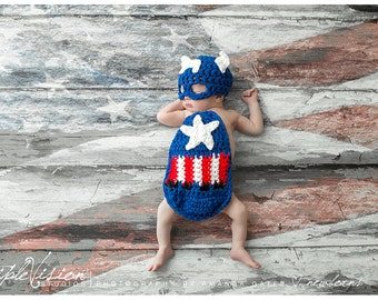 Newborn Little Captian America Baby Cover Cape and Hat Crochet Photo Prop Super Hero Set