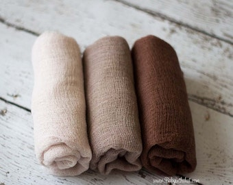 3 Neutral Newborn Cheesecloth Wrap Photography Prop Hand Dyed 3 ft x 6 ft  Ivory Taupe Brown RTS