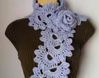 Crochet SCARF/ NECKWARMER with Crochet Flower Brooch