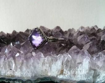 Amethyst Ring - Adjustable Silver Pyramid Ring