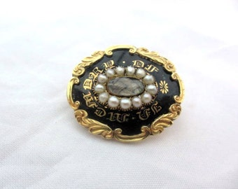 Victorian Mourning Brooch, Pearl, 14K Gold, Black Enamel, Vintage Jewelry, SUMMER SALE