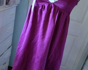 Deep Magenta Satin Dress Womens SMALL Altered Couture Feminine Romantic Shabby Sundress Lace Tattered Silk Roses Prairie Slip Dress Eco