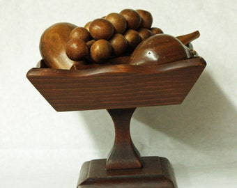 Vintage Wood Bowl and Fruit