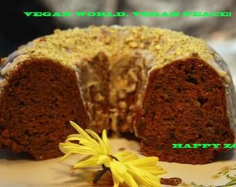 Vegan Cardamom Cinnamon Apple Bundt cake and lemon pistachio glaze,Vegan,Healthy,Wedding
