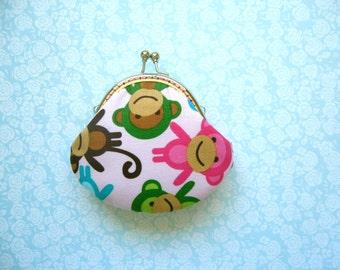 SHOP CLOSING SALE  Pink Monkeys Small Coin Purse - Monkeys in Spring by Ann Kelle - Metal frame change purse
