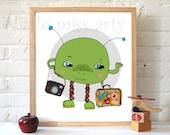 kids print -boys,girls,  alien- art print, kids art, childrens decor, wall art, illustration, girls room art, poster, girl art print,whimsy