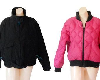 Women Bomber Jacket Down Jacket 80s Ski Jacket Black Winter Jacket Puffy Coat Puff Coat Women Winter Jacket Puff Jacket Puffy Jacket Pink