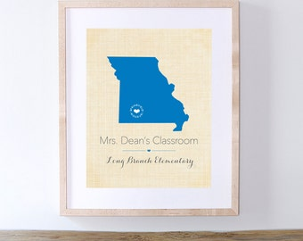 Teacher Appreciation Week Gift Idea - Personalized Gift for Teacher - Missouri or Your Choice of State and Color