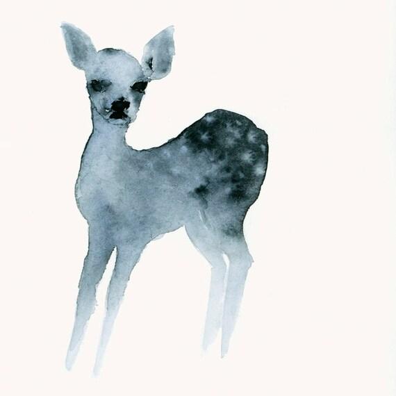 Ghost Fawn Watercolor Fine Art Deer Print from Original Watercolor Painting