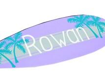 Surfboard Decor, Surf Board Sign, Large 36 inch Custom Surfboard Wall Art, Personalized Beach Sign, Beach Nursery Decor