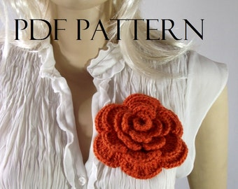 CROCHET FLOWER PATTERN Rose flower Pin Embellishment Brooch flower pin pattern pdf pattern tutorial instant download