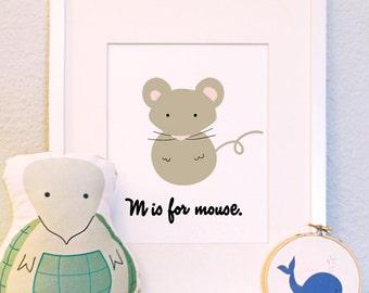 M is for mouse woodland animal portrait nursery illustration print 8x10 5x7