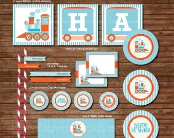 Choo Choo Train Birthday Party DIY Printable Party pack - Baby blue and ORANGE