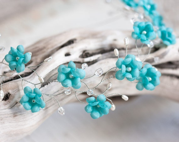 51_Blue wedding headband, Blue wedding hair accessory, Wedding hair blue, Blue tiara, Blue headband, Bridal headpiece, Wedding bridal tiara
