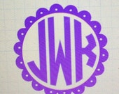 Small Scalloped Circle with Monogram Car Decal
