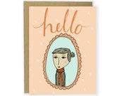 Hello Scarf Girl Card - Cute Stationery, Girl in Frame, Say Hello Card, Illustrated Stationery, Friend Card, Illustrated Note Card