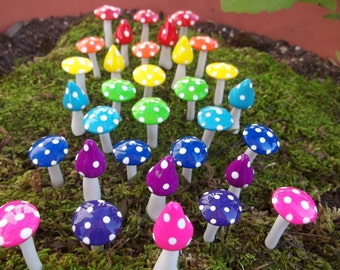 Mad hatter tea party favor Fairy garden mushrooms set of 20:  woodland  terrarium accessories garden toadstools woodland handmade