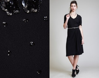 Vintage Black SEQUIN 40s CREPE Swing Dress // Lovely Party
