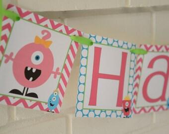 Girly Monster, Little Monsters Birthday banner, Monster birthday, Monster banner, Little Monster, Little Monsters, Monster,1st birthday