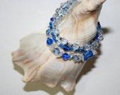 Bead Blue Bracelet 3 Pc Set Handmade Mixed Blue Glass Beads Crystal Chips Women Teen Fashion Jewelry Accessory Gift by CzechBeaderyShop