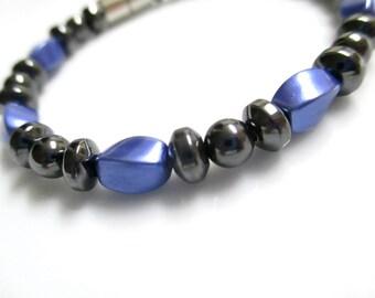 Magnetic Bracelet, Magnetic Therapy Bracelet, Magnetic Hematite Purple Bracelet