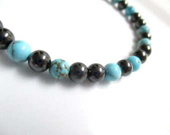Magnetic Hematite Turquoise Anklet