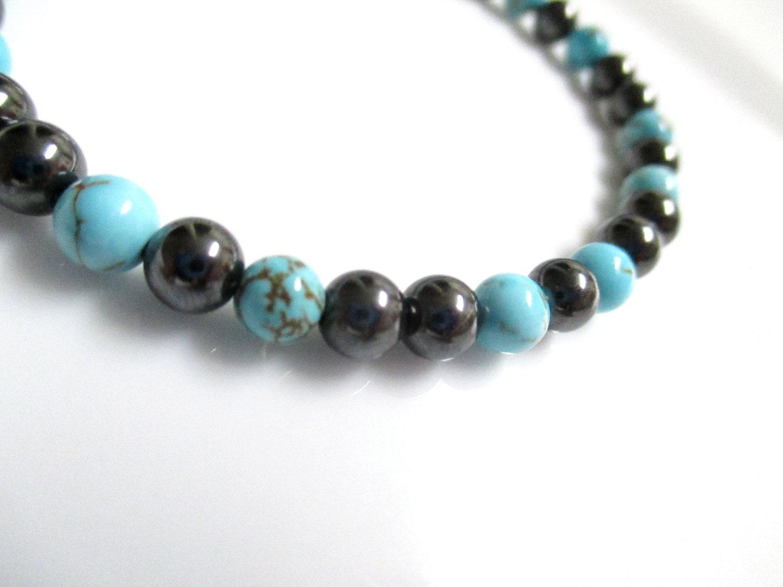 magnetic hematite turquoise bracelet