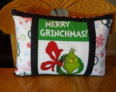 "Quilted Grinch Pillow Case - Max and Grinch 12""x16"" - Ready to ship"