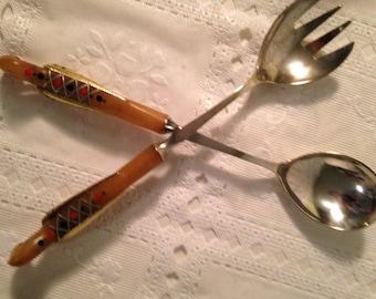 Vintage Serving Spoon and Fork Ornate Handles, Salad Serving Utensils