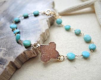 Druzy Bracelet, Jasper Quartz Druzy Bracelet, Turquoise Bracelet, 14K Gold Filled Bracelet, Druzy Stone Bracelet, Druzy Jewelry Gift For Her