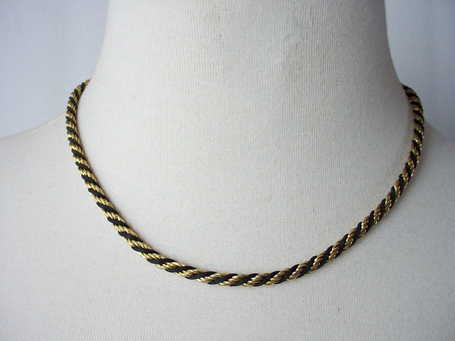 black and gold rope necklace vintage monet twist chain