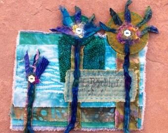 Art Quilt Freaky Grateful Flowers