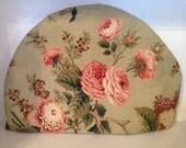 RESERVED for Dvora Handmade Tea Pot Cozy Green Pink Roses Large Tea Cozie