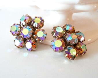 Signed Weiss Aurora Borealis Clip Earrings AB Rhinestones Vintage Bridal Jewelry from TreasuresOfGrace from TreasuresOfGrace