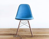 Classic Eames DSW - RARE - Marine Blue Pin-Check Tweed Hopsack on Walnut Dowel Base Side Chair - castandcrew