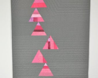 Pink Baby Quilt, Modern Quilt, Wall Hanging, Geometric, Gray Baby Bedding, Pink & Gray,