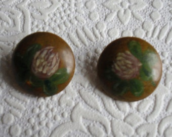 "Vintage Buttons - 2 Handpainted Wood Buttons with Metal Shanks 1"" Diameter"