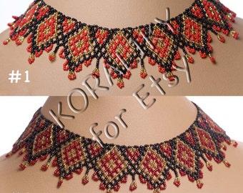 Black /Red /Gold. Traditional Ukrainian Folk Handmade Beaded NECKLACE Gerdan.
