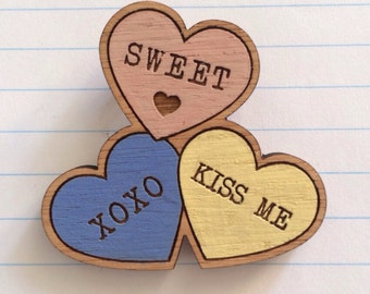 Laser cut wood candy heart brooch, hand painted pink, yellow and blue sweet sugar lolly
