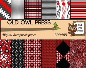 Digital paper,  scrapbook paper, red and black,  commercial use, Digital Scrapbook, Paper Pack, Scrapbooking paper,  Background Papers
