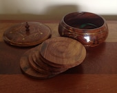 Vintage wooden coasters in wooden box with lid. Coaster set.