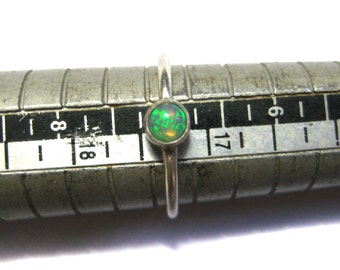 Ethiopian Opal Gemstone 925 Sterling Silver Ring 4mm Round AAA Quality Gem cabochon Stackable engagement thin Ring Handmade stacking jewelry