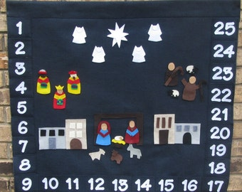 Felt Advent Calendar with nativity scene and pockets Navy Blue Heart FELT Truths Deluxe Pocketed Advent Calendar countdown to Christmas