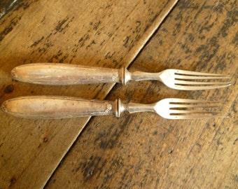 Vintage Christofle Hotelware Rubans Dessert Fork or Cake Fork Silver Plate Bistro Ware x 2