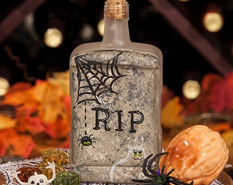 Halloween Lighted Bottle - Hand Painted RIP Tombstone Halloween Decor Spooky Ghost Dangling Spider Web Battery Operated Purple LED Lights